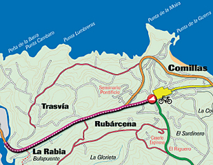 Route 2: Cycle path from Comillas to La Rabia